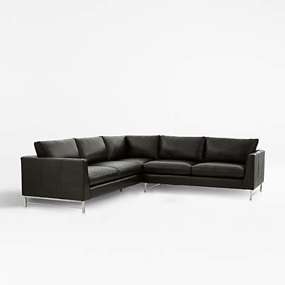 View testTyson Leather 2-Piece Left Arm Corner Sofa Sectional with Stainless Steel Base