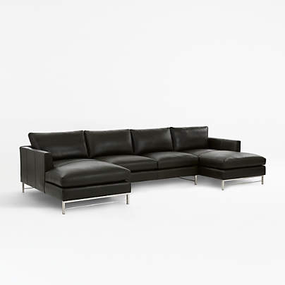 View testTyson Leather 3-Piece Chaise Sectional with Stainless Steel Base