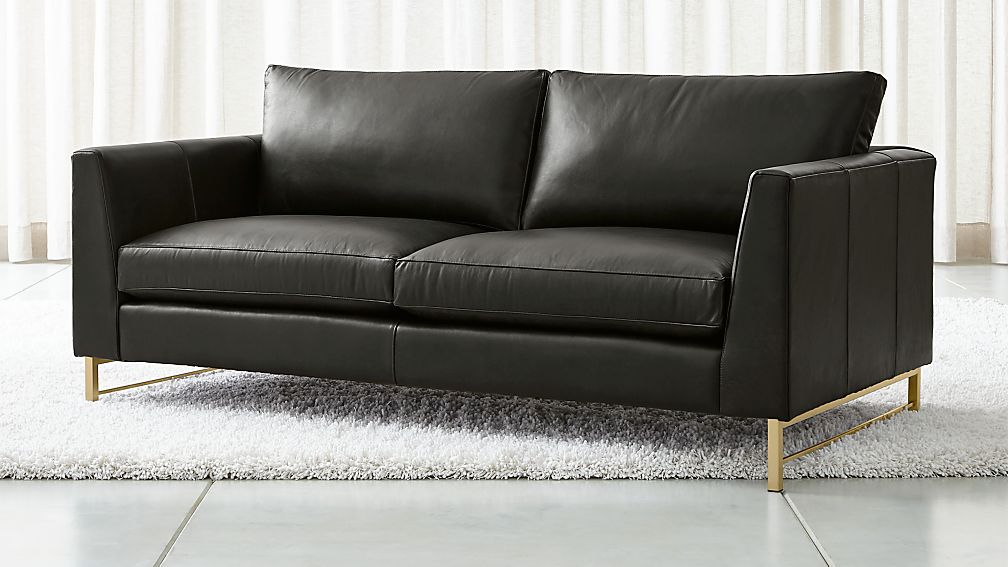 Tyson Leather Apartment Sofa with Brass Base - Image 1 of 6