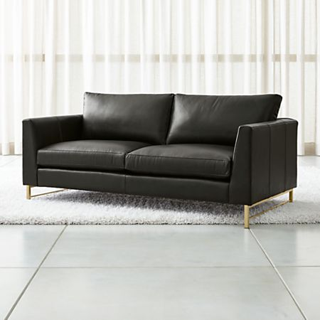 Tyson Leather Apartment Sofa with Brass Base