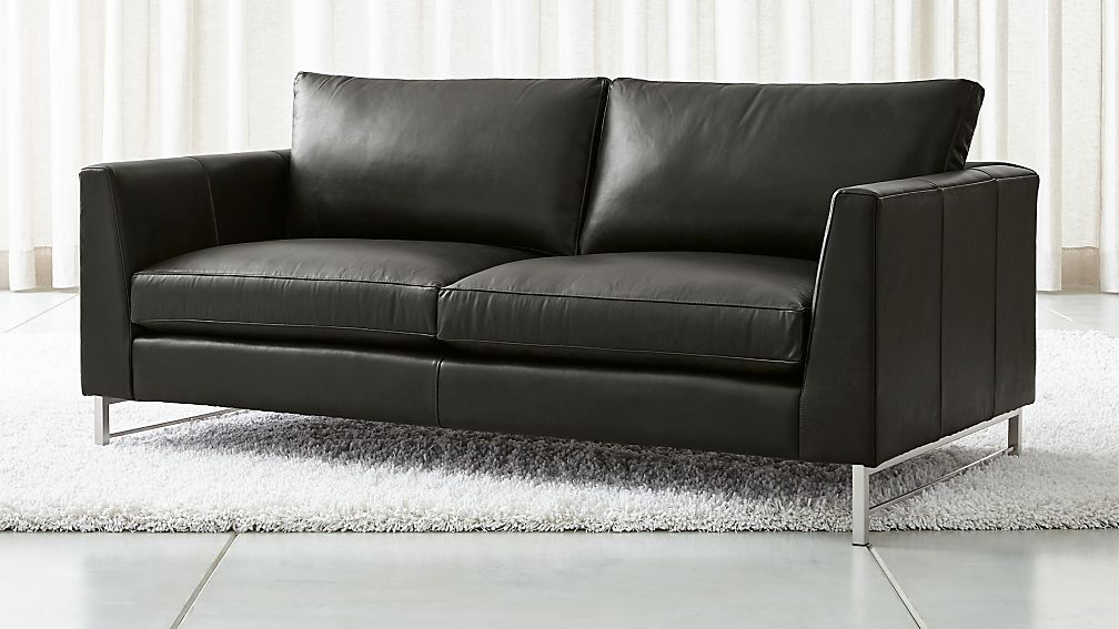 Tyson Leather Apartment Sofa with Stainless Steel Base + Reviews ...