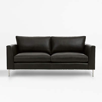 View testTyson Leather Apartment Sofa with Stainless Steel Base