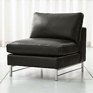 Tyson Leather Armless Chair With Stainless Steel Base