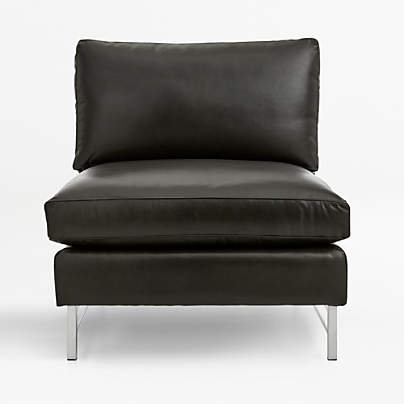 View testTyson Leather Armless Chair with Stainless Steel Base