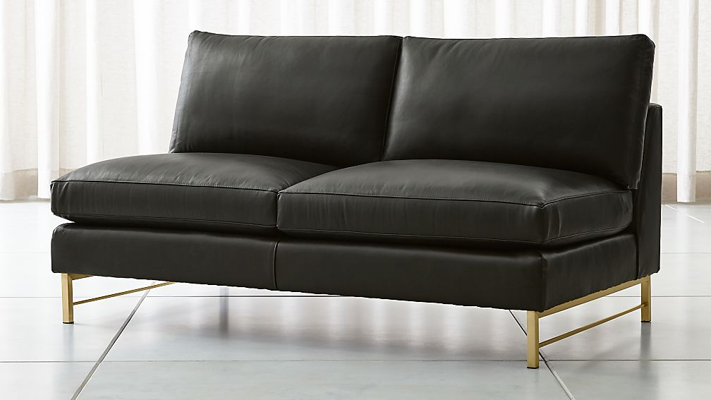 Tyson Leather Armless Loveseat with Brass Base + Reviews | Crate and Barrel