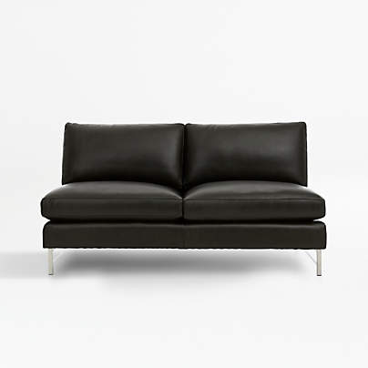 View testTyson Leather Armless Loveseat with Stainless Steel Base