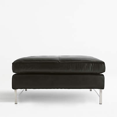 View testTyson Leather Square Cocktail Ottoman with Stainless Steel Base