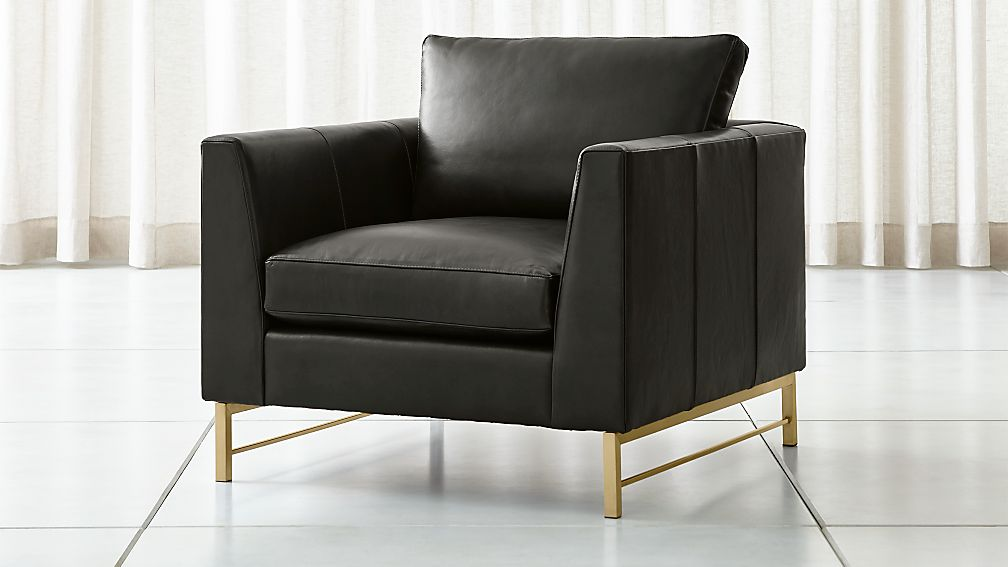 Tyson Leather Chair With Brass Base Crate And Barrel Canada