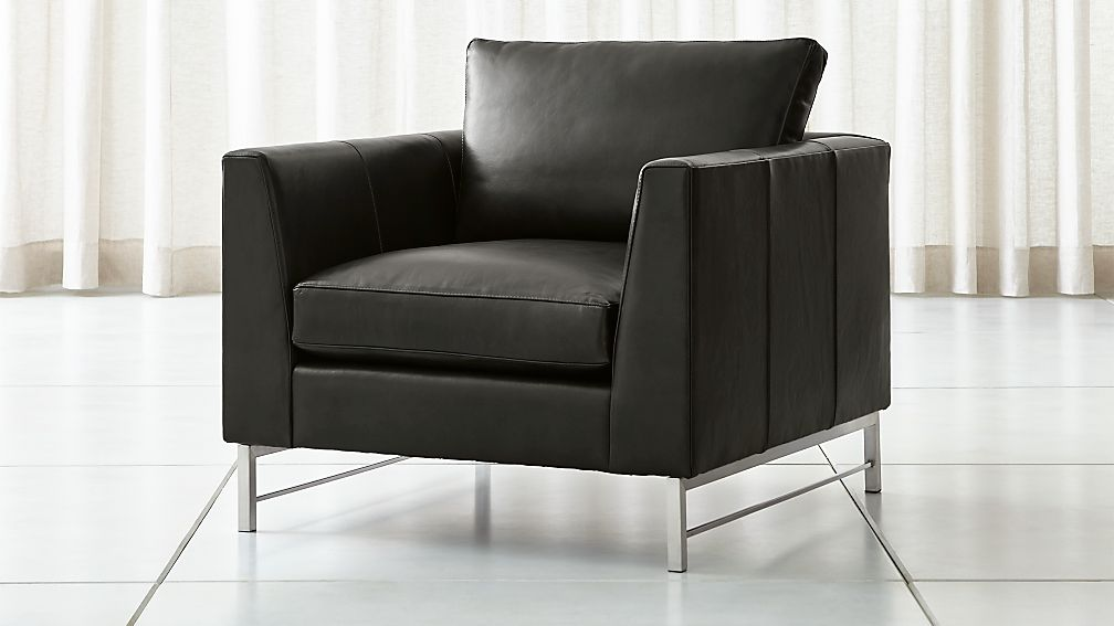 Tyson Leather Chair with Stainless Steel Base - Image 1 of 7