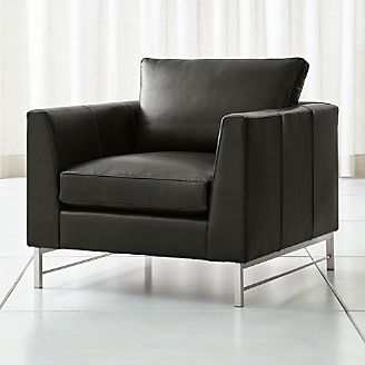 Tyson Leather Chair With Stainless Steel Base