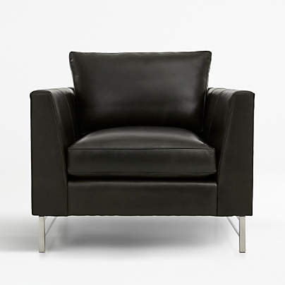 View testTyson Leather Chair with Stainless Steel Base