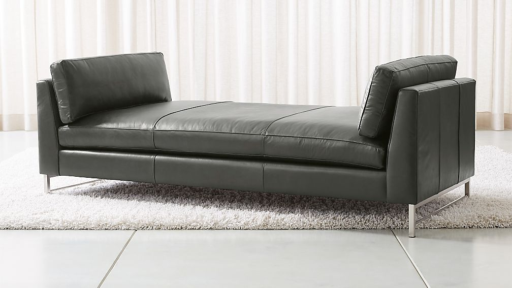 Tyson Leather Daybed with Stainless Steel Base - Image 1 of 5