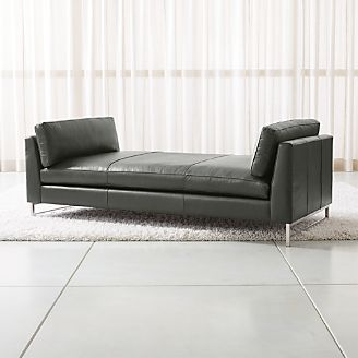Tyson Leather Daybed With Stainless Steel Base