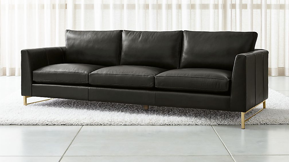 """Tyson Leather 102"""" Grande Sofa with Brass Base - Image 1 of 6"""