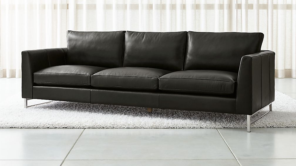 """Tyson Leather 102"""" Grande Sofa with Stainless Steel Base - Image 1 of 6"""