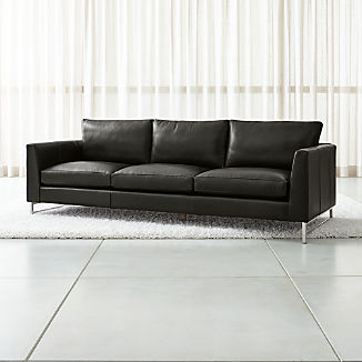 Black Leather Sofas | Crate and Barrel