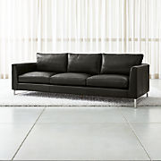 Black Leather Sofas   Crate and Barrel