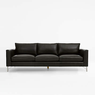"""View testTyson Leather 102"""" Grande Sofa with Stainless Steel Base"""