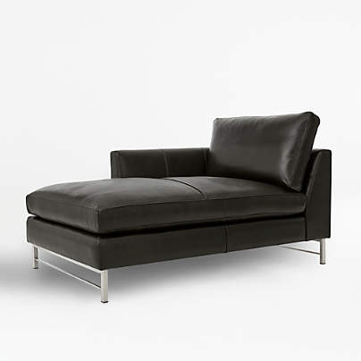 View testTyson Leather Left Arm Chaise with Stainless Steel Base