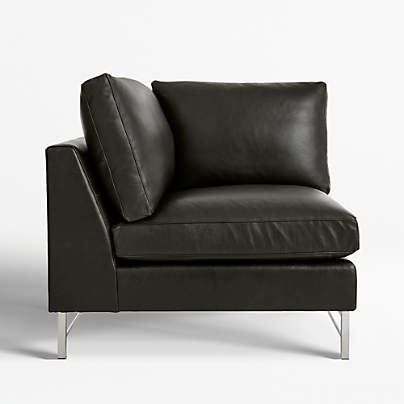 View testTyson Leather Left Corner Chair with Stainless Steel Base