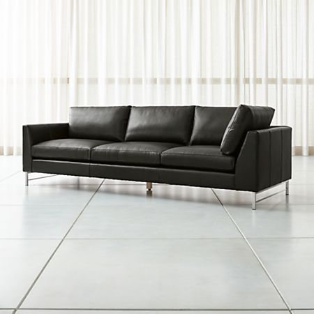 Tyson Leather Left Arm Corner Sofa with Stainless Steel Base | Crate and  Barrel