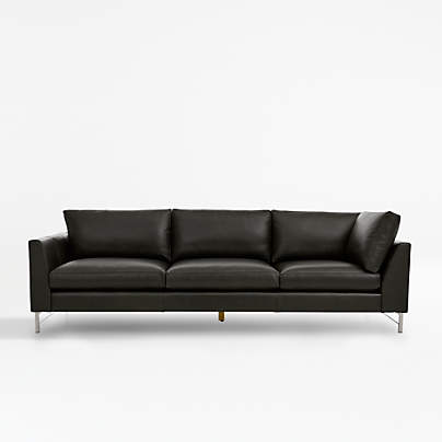 View testTyson Leather Left Arm Corner Sofa with Stainless Steel Base