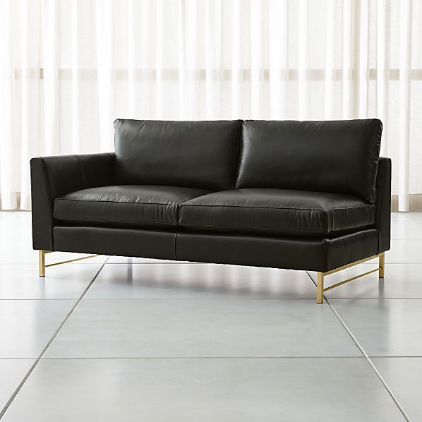 Tyson Leather Left Arm Apartment Sofa with Brass Base + Reviews | Crate and  Barrel
