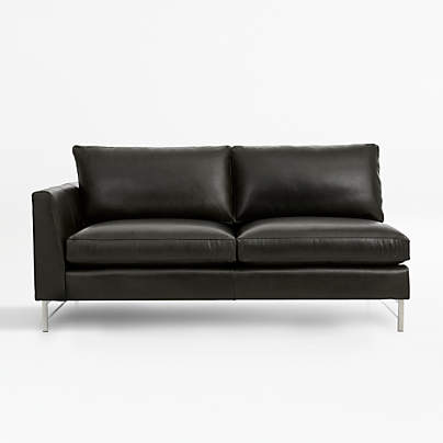 View testTyson Leather Left Arm Apartment Sofa with Stainless Steel Base