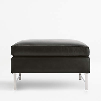 View testTyson Leather Ottoman with Stainless Steel Base