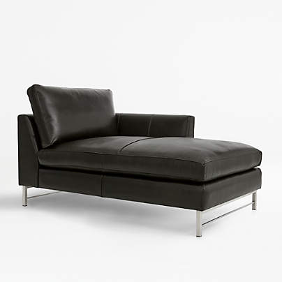 View testTyson Leather Right Arm Chaise with Stainless Steel Base