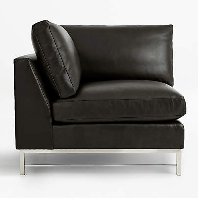 View testTyson Leather Right Corner Chair with Stainless Steel Base