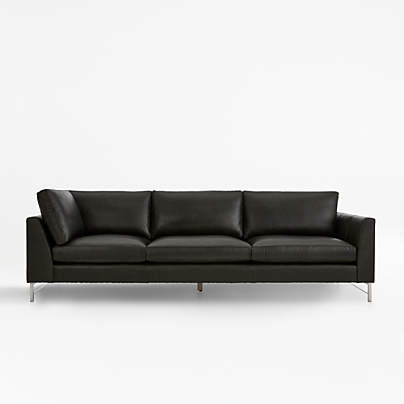 View testTyson Leather Right Arm Corner Sofa with Stainless Steel Base