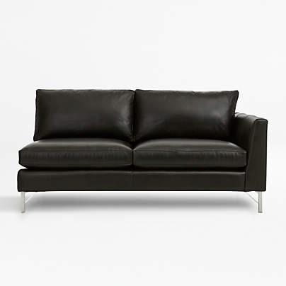 View testTyson Leather Right Arm Apartment Sofa with Stainless Steel Base