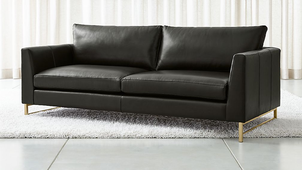 Tyson Leather Sofa with Brass Base - Image 1 of 6
