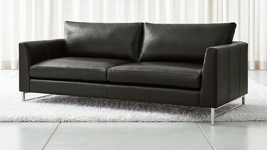 Tyson Leather Sofa with Stainless Steel Base - Image 1 of 7