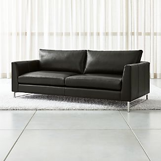 Tyson Leather Sofa With Stainless Steel Base