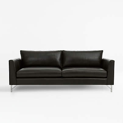View testTyson Leather Sofa with Stainless Steel Base