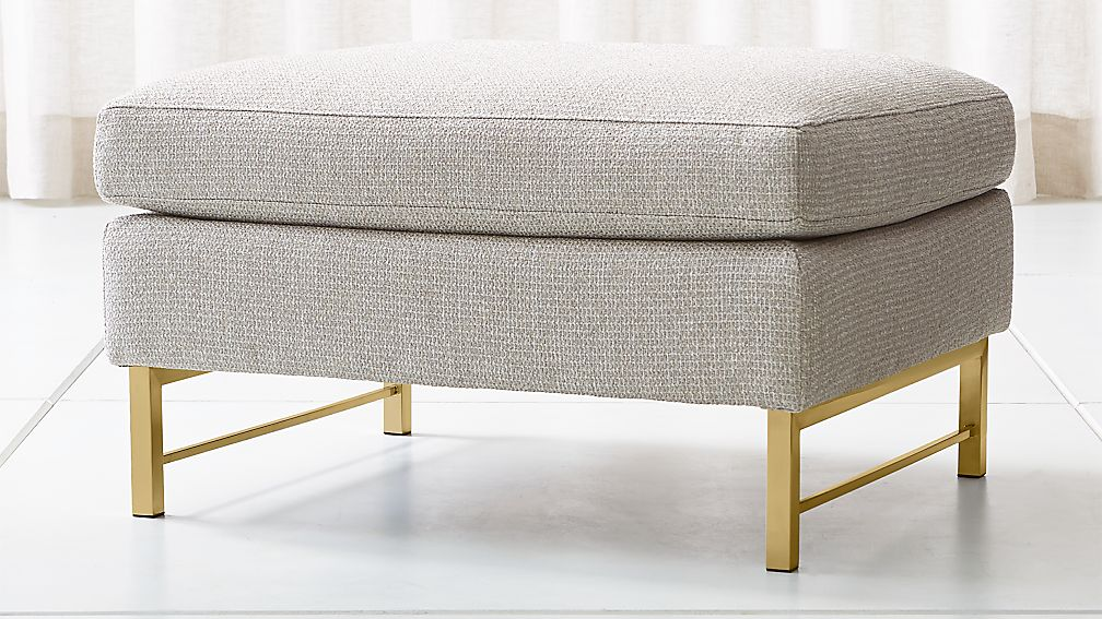 Tyson Ottoman with Brass Base - Image 1 of 5