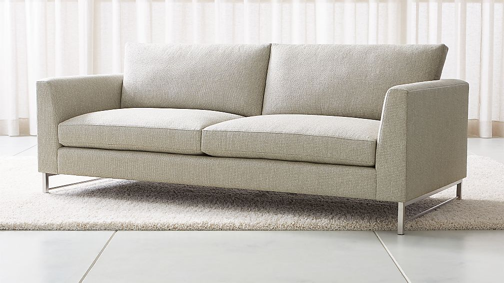 tyson sofa with stainless steel base crate and barrel
