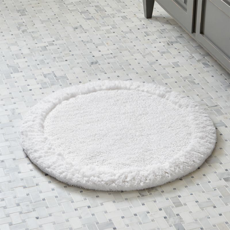 "Crate And Barrel Bath Rugs: Ultra Spa White 24"" Round Bath Rug"