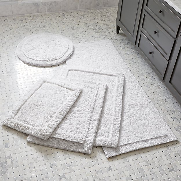 Ultra Spa White Bath Rugs Crate And Barrel - Black and white bathroom rugs for bathroom decor ideas