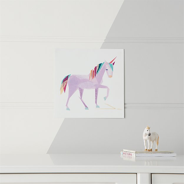 Teal Unicorn Unframed Wall Art Reviews Crate And Barrel