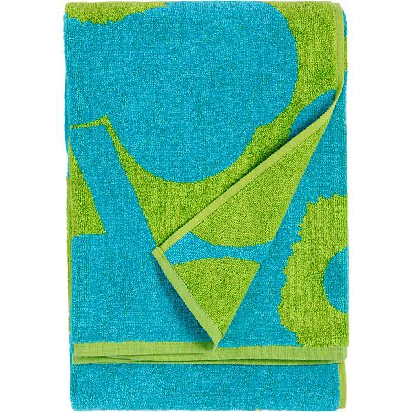 Marimekko Unikko Turquoise and Lime Bath Towel