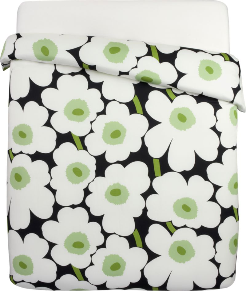 """Designed in 1964 by Maija Isola, the Unikko (""""poppy"""") design has been the most popular Marimekko print since its introduction. Challenging the common notion of decorative florals, Unikko broke from tradition with its creative pop art interpretation in bold, simplified pattern and bright color. Reproduced in infinite color combinations over its 47-year history, the pattern remains current while symbolizing the free spirit of its designer and those who admire it.<br /><br /><NEWTAG/><ul><li>Pattern designed by Maija Isola and Kristina Isola; 1964/2000</li><li>100% cotton sateen</li><li>300-thread-count</li><li>Comforters have polyester fill</li><li>Machine wash cold</li><li>Made in Mexico</li></ul><br />"""