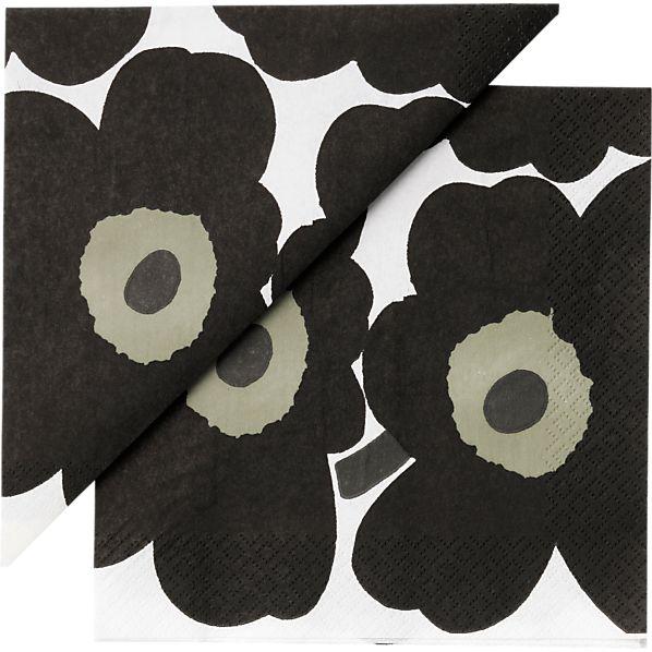 "Set of 20 Marimekko Unikko Black Paper 6.5"" Napkins"