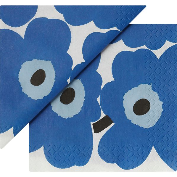 "Set of 20 Marimekko Unikko Blue Paper 4.75"" Napkins"