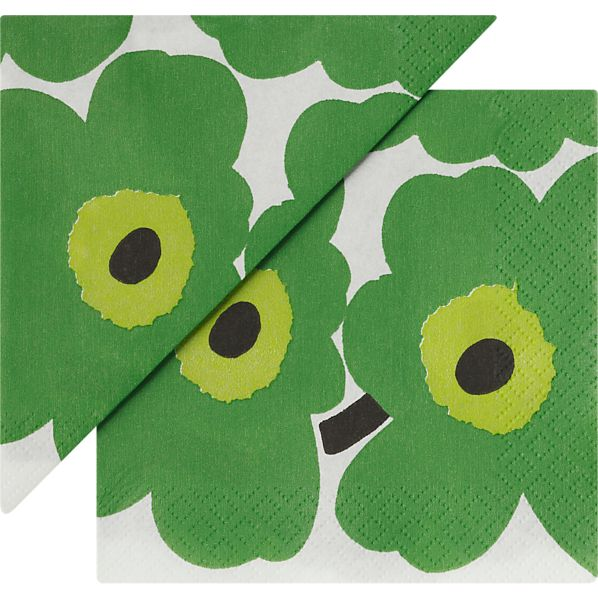 "Set of 20 Marimekko Unikko Green Paper 4.75"" Napkins"