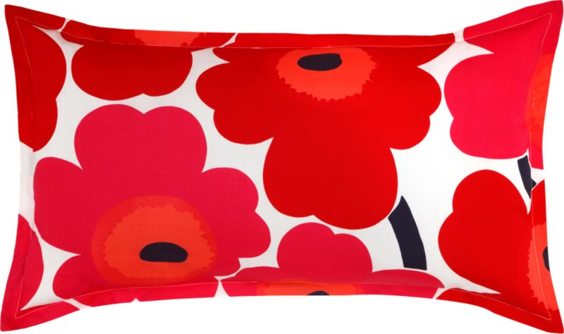 "Designed in 1964 by Maija Isola, the Unikko (""poppy"") design has been the most popular Marimekko print since its introduction. Challenging the common notion of decorative florals, Unikko broke from tradition with its creative pop art interpretation in bold, simplified pattern and bright color. Reproduced in infinite color combinations over its 47-year history, the pattern remains current while symbolizing the free spirit of its designer and those who admire it. Sham is tailored with a 1"" flange and generous overlapping back closure. Bed pillows also available.<br /><br /><NEWTAG/><ul><li>Pattern designed by Maija Isola; 1964</li><li>100% cotton percale</li><li>300-thread-count</li><li>Machine wash cold</li></ul>"