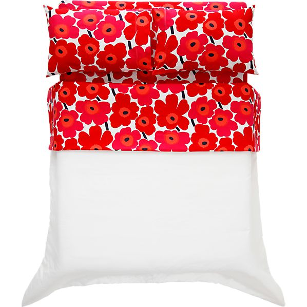 Marimekko Pieni Unikko Red Full Sheet Set