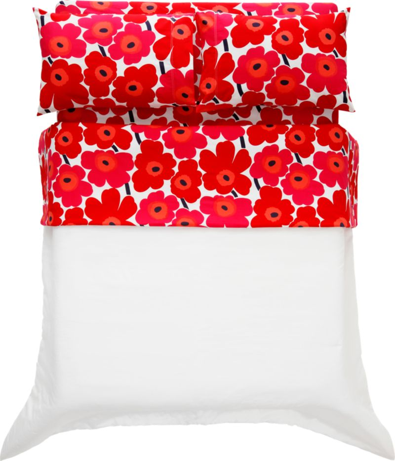"Designed in 1964 by Maija Isola, the Unikko (""poppy"") design has been the most popular Marimekko print since its introduction. Challenging the common notion of decorative florals, Unikko broke from tradition with its creative pop art interpretation in bold, simplified pattern and bright color. Reproduced in infinite color combinations over its 47-year history, the pattern remains current while symbolizing the free spirit of its designer and those who admire it. Pieni Unikko is scaled between the original Unikko and the Mini-Unikko patterns. Generous fitted sheet pockets accommodate thicker mattresses. Extra-long twin sheets fit standard or oversized dorm mattresses. Sheet set includes one flat sheet, one fitted sheet and two standard pillowcases. Bed pillows also available.<br /><br /><NEWTAG/><ul><li>Pattern designed by Maija Isola and Kristina Isola; 1964/2000</li><li>100% cotton percale</li><li>300-thread-count</li><li>Machine wash cold</li></ul>"